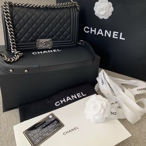 Chanel large boy bag caviar leather flap bag for Sale in Boston, MA