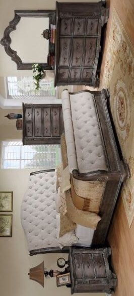 SPECIAL] Sheffield Antique Gray Sleigh Bedroom Set | B1120-88 [FREE CHEST]Dresser Mirror Nightstand bed frame queen 5pc for Sale in Houston, TX