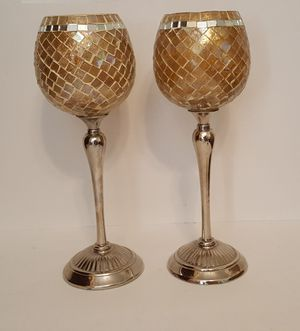 2 Gold, Silver and mirror tile votive candle holders for Sale in Fort Worth, TX
