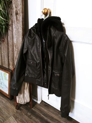 Off Black Faux Leather Jacket with attached hoodie inside! Woman's Medium for Sale in Joliet, IL