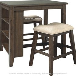 NEW, LIGHT BROWN 3 PC RECT COUNTER TABLE WITH STORAGE AND 2 STOOLS. for Sale in Santa Ana,  CA