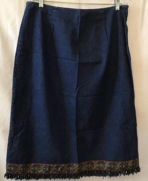 Denim Old School Skirt with Beaded fringe bottom Size 14 for Sale in Newportville, PA
