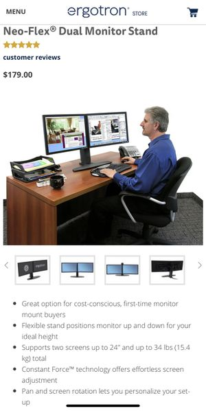 Neo-Flex Dual Monitor Stand for Sale in Washington, DC
