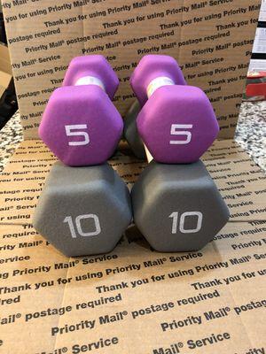 Cap neoprene dumbbells - 30 total lbs for Sale in Apex, NC