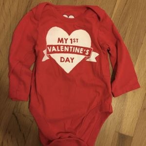 My 1st Valentines Day Baby Onesie Unisex Size 3-6 months for Sale in Pico Rivera, CA