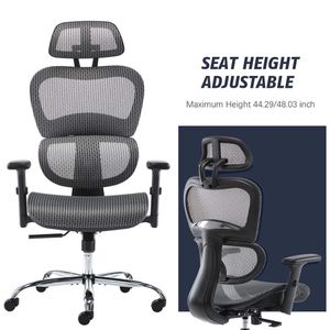 Office Chair, Ergonomics Mesh Chair Computer Chair Desk Chair High Back Chair w/Adjustable Headrest and Armrests - grey for Sale in Diamond Bar, CA