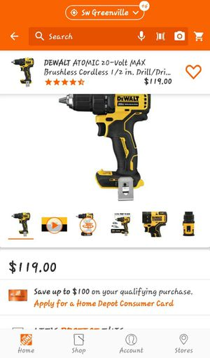 DeWalt 20 volt Atomic brushless 1/2 inch drill driver tool only for Sale in Clemson, SC