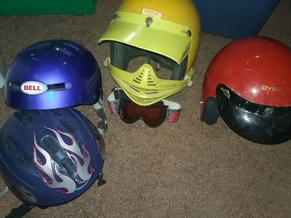 Dirt bike and bicycle helmets Bell and cyber brands
