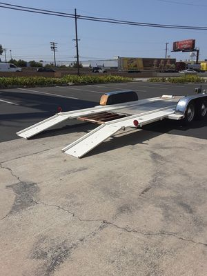 Old school flatbed car trailer tandem axle custom built lowboy deck 16 ft to transport middle size car to small cars only not full-size car for Sale in CTY OF CMMRCE, CA