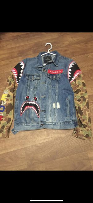 """""""BAPE"""" Hudson jean shark boy jacket (official ) size M. new for Sale in Columbus, OH"""