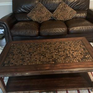 Two Sofa Leather Good Condition ,coffee table ,Sony Tv and the Tv Stand Total Price 1200$ for pick up for Sale in North Royalton, OH