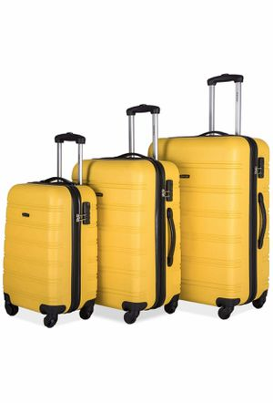 Yellow 3pc Luggage suit case made of Hardshell ABS Maletas set de 3pc for Sale in Long Beach, CA