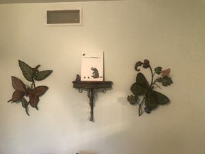 Metal butterflies and wooden top shelf for Sale in WI, US