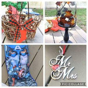 Mr and Mrs Ornament, Captain America Stocking, and Autumn Thanksgiving Large Pillar Candle Holder for Sale in Aloma, FL
