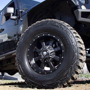 "17"" WHEELS & TIRES PACKAGE ✅17x9 Trail Master TM220 Rims 6x139 or 6x135 Satin Black Offset -6. ✅ 17"" FALKEN Wild peak AT3 for Sale in La Habra, CA"