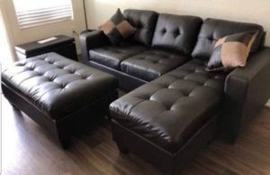 New in box espresso bonded leather sectional sofa// ottoman included for Sale in Los Angeles, CA