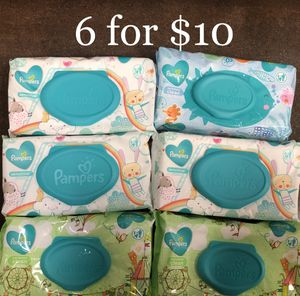 Pampers Wet Wipes (72 ct x 6 = 432 total wipes) Unscented 6 for $10 for Sale in Monterey Park, CA