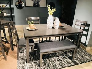 Ashley Furniture Dining Set 6 Piece, Grey Color for Sale in Garden Grove, CA