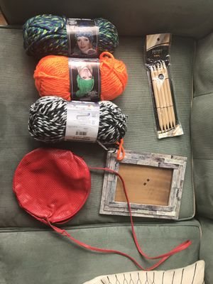 Free yarn and needles, picture frame, and red bag for Sale in Boston, MA