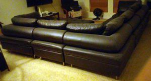 Modern 7-Piece Black Leather Modular Sectional Sofa Couch+Ottoman (NE Fresno) for Sale in Fresno, CA