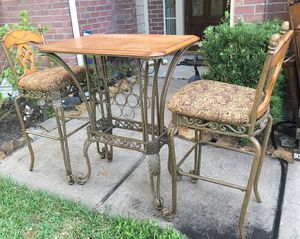 Wooden / Metal Wine Rack Bar Table Set for Sale in Clodine, TX