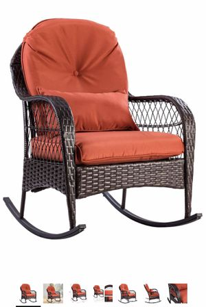 Tangkula Wicker Rocking Chair Outdoor Porch Garden Lawn Deck Wicker Rocker Patio Furniture w/Cushion (Colourful Cushion) for Sale in Fairfax Station, VA