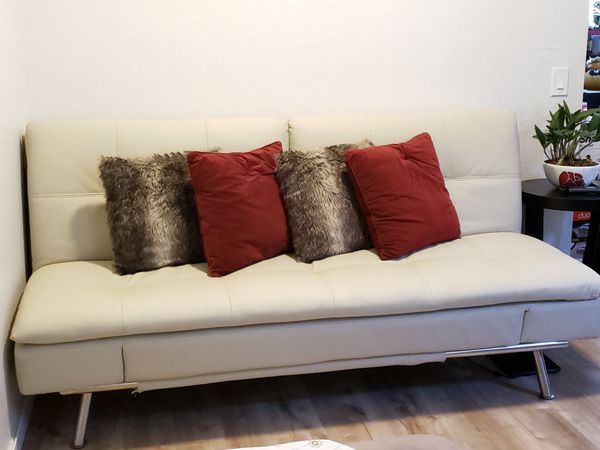 Leather Couch/ Futon with Adjustable Setting