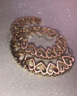 Diamond heart shaped hoop earrings, gold,5.5cm for Sale in Nashville,  TN
