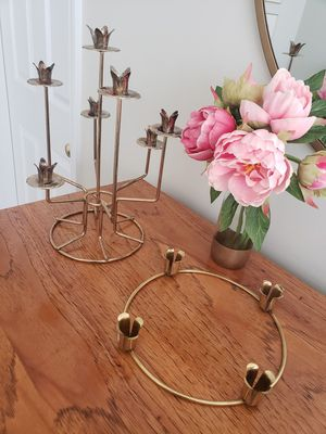 Set of 2 vintage brass mid century modern Danish brass tulip crown candelabras candle sticks holders wedding party centerpiece decor- price for 2! for Sale in Durham, NC