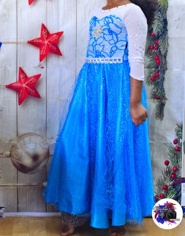 Elsa costume dress w/Cape, hair, gloves and crown