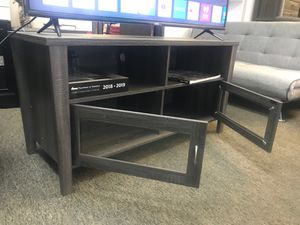Melina 2 Glass Door TV Stand up to 55in TVs, Distressed Grey for Sale in Fountain Valley, CA