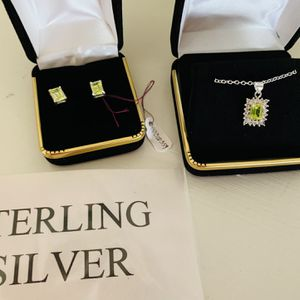 Absolutely Beautiful Sterling Silver Necklace & earrings Set With Lab Peridot And cubic Zirconia for Sale in Stamford, CT