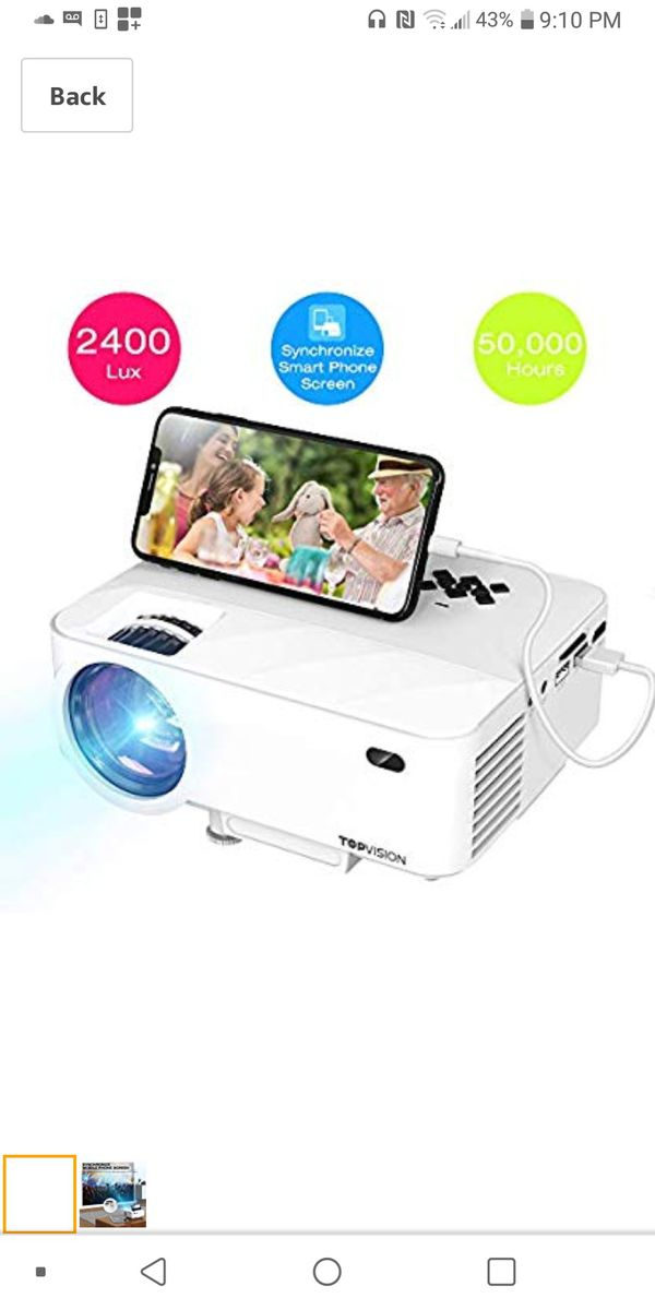 TOPVISION smart projector with mirror display offers a top home cinema experience. High-fidelity images offer superior quality and convenience $55