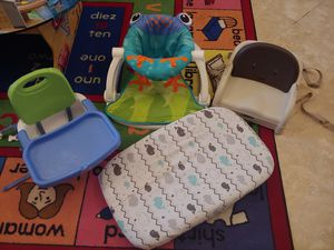 Fisher Price Sit-Me-Up Floor Seat/Fisher Price Booster Seat/Graco Booster Seat/Changing Pad WITH 3 Adorable Covers!!! for Sale in Austin, TX