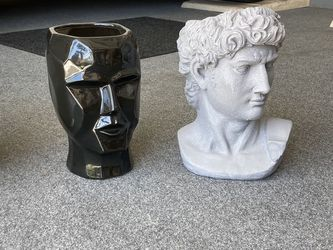 $50 Each. Flower Pot Head Face Vases. Modern Geometric Lady Greek Man Or David Or God. Black & White Ceramic. Buddha $40 Each for Sale in Boca Raton,  FL