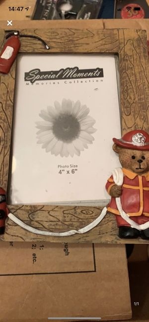 Bear fireman picture frame for Sale in Binghamton, NY