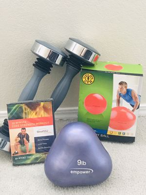 FITNESS 9Lbs EMPOWER WEIGHT• 5lbs SHAKERS • 65 cm BODY BALL• 30min CORE STRENGTH WORKOUT• for Sale in Las Vegas, NV