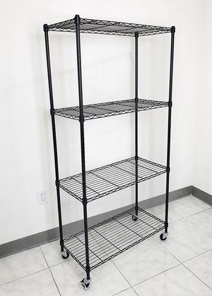 "(New in box) $50 Metal 4-Shelf Shelving Storage Unit Wire Organizer Rack Adjustable w/ Wheel Casters 30x14x61"" for Sale in Whittier, CA"