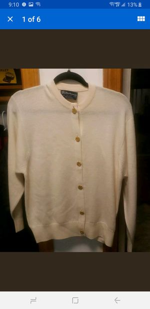 Vintage Burberry Women's Cardigan Sweater Made In Scotland Size 40 white Gold for Sale in East Haven, CT