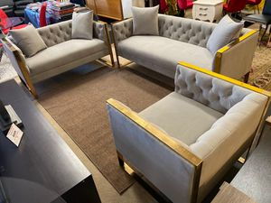 New!! 3pcs Grey Livingroom set (Sofa-Loveseat & Chair) • We Deliver and Set up 🚚 • Make you Order Online 📱 for Sale in Las Vegas, NV