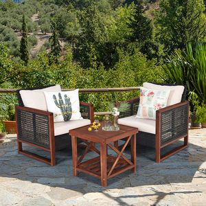 3PCS Rattan Wicker Patio Conversation Set Outdoor Furniture Set Decor for Sale in Los Angeles, CA
