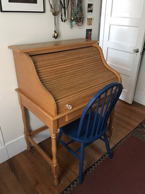 Roll-top secretary desk and painted chair for Sale in Boston, MA