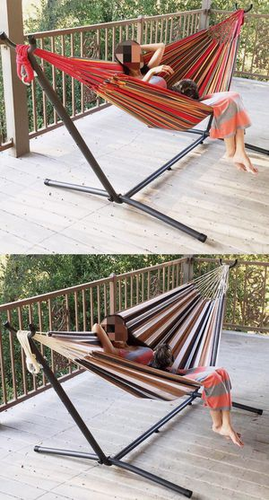 NEW $70 each 110 inches long 450 lbs capacity double hammock with metal stand included Hamaca for Sale in Los Angeles, CA