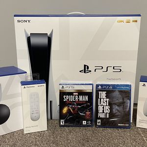 PS5 with Blue Ray Disk + Games + 3D Headphones + Remote for Sale in Fort Lauderdale, FL