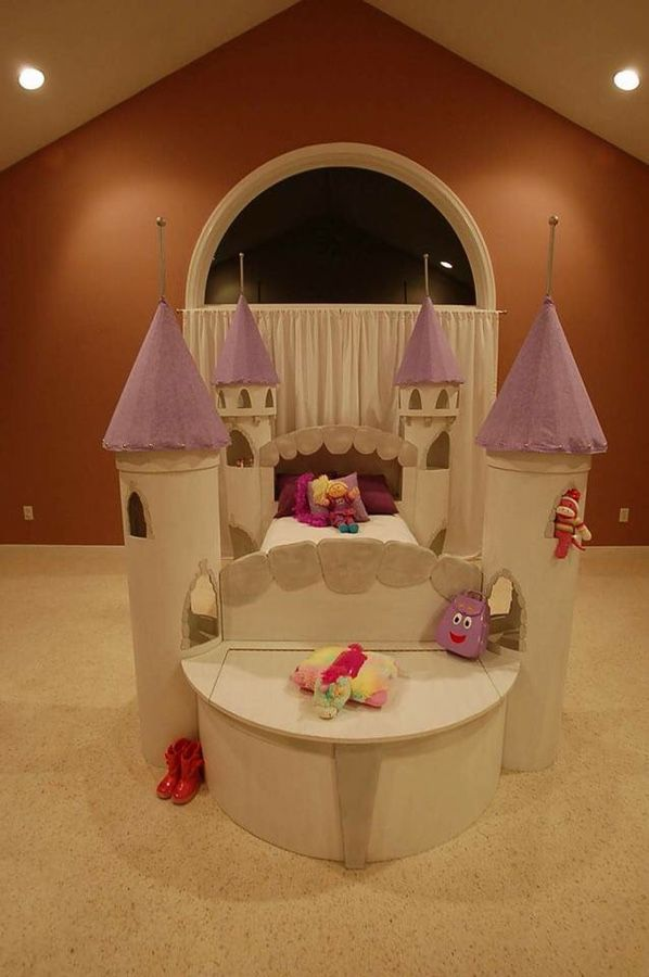 BEAUTIFUL, one of a kind, twin size, princess castle bed PRICE REDUCED