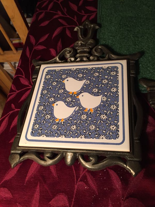 Wall trivets pair vintage Rooster and CHICKS