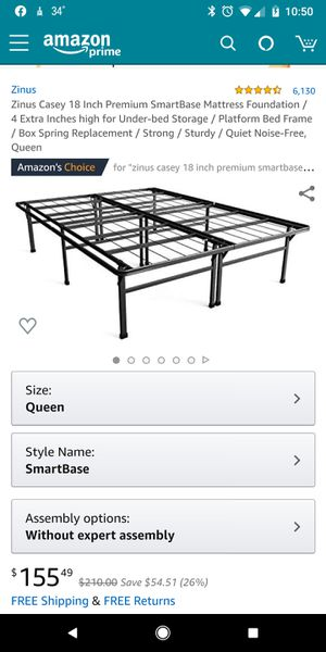 Brand New!! QUEEN SIZE, Zinus Casey 18 Inch Premium SmartBase Mattress Foundation / 4 Extra Inches high for Under-bed Storage / Platform Bed Frame for Sale in Batavia, OH