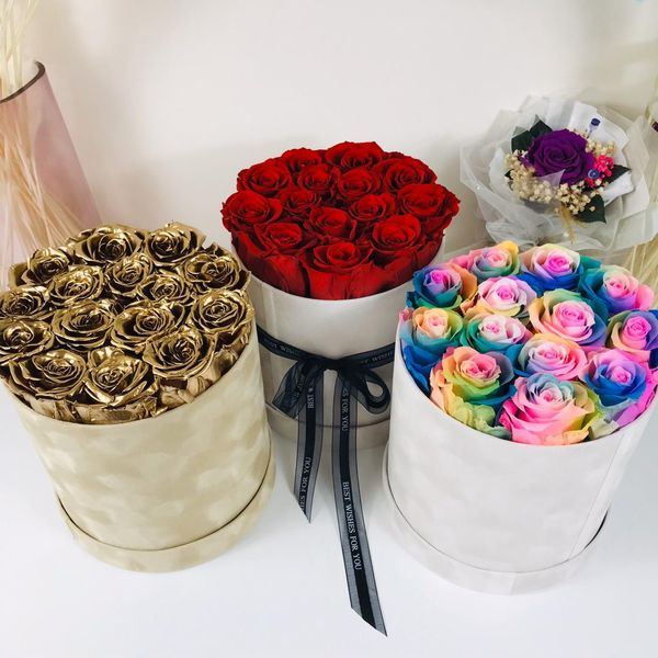 Real preserved roses box bouquet velvet box gift present luxury anniversary Christmas Valentine's Day Mother's Day luxury eternal love