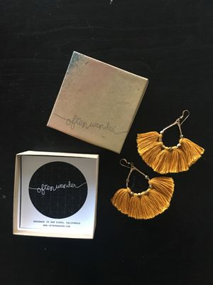 Used with box Often Wander Mustard Gold Tassle Earrings for Sale in Red Bluff, CA