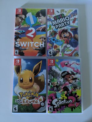 Nintendo Switch Games - Pokemon Let's Go Eevee, Splatoon 2, 1-2 Switch and Super Mario Party for Sale in Portland, OR